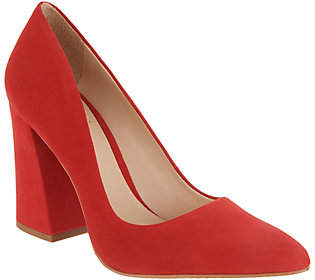 Vince Camuto Suede Pointy Toe Block Heel Pumps- Talise