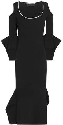 Roland Mouret Cold-Shoulder Flared Ribbed-Knit Midi Dress