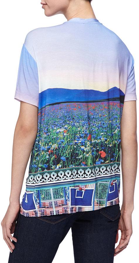 Mary Katrantzou Floral Fluorescent T-Shirt, Multicolor
