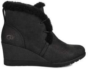 UGG Jeovana Sheepskin-Lined Leather Wedge Booties