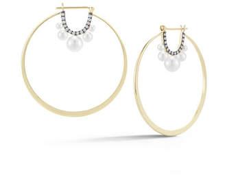 Prive Jemma Wynne Pearl & Diamond Hoop Earrings