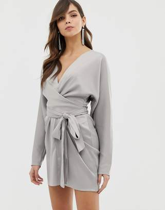 Asos DESIGN mini dress with batwing sleeve and wrap waist in satin