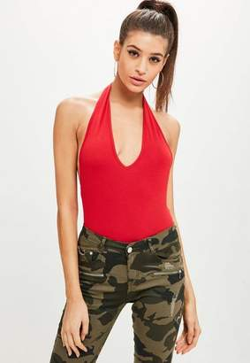 Missguided Red Deep Plunge Halter Bodysuit
