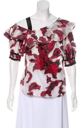 Self-Portrait Embroidered Ruffle-Accented Top
