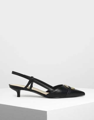 Charles & Keith Gold Ring Detail Slingback Pumps