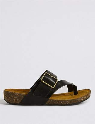 Marks and Spencer Wide Fit Leather Toe Thong Mule Sandals