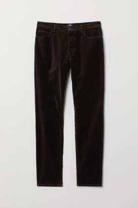 H&M Skinny Fit Velvet Pants - Black