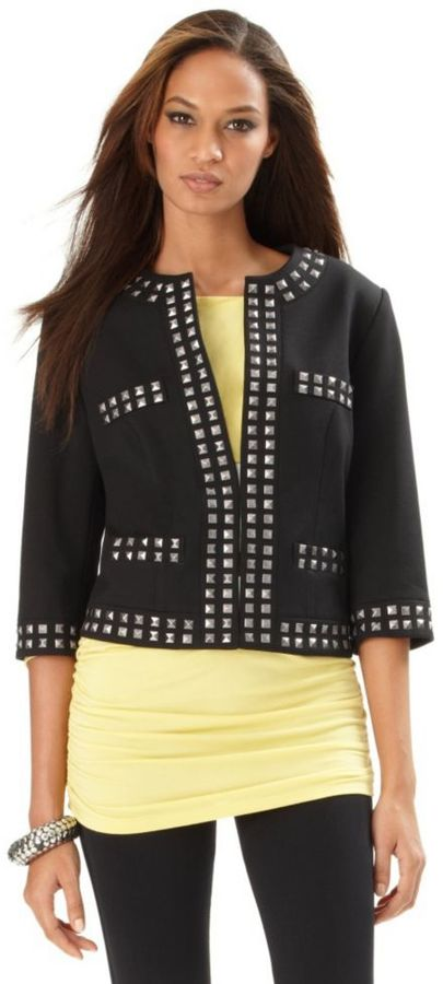 INC International Concepts Jacket, Studded Cropped Collarless
