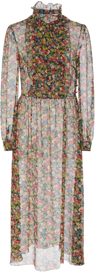 RED Valentino Red Valentino Neck Tie Floral Dress
