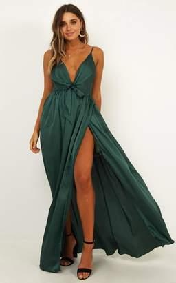 Showpo Miracle Worker Dress In Emerald Satin - 8 (S) Dresses