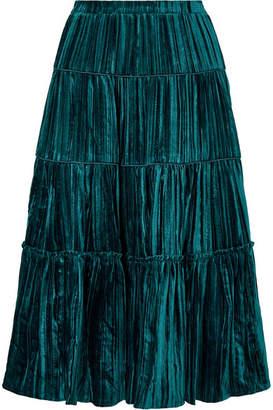 MICHAEL Michael Kors Tiered Plissé-velvet Midi Skirt - Green