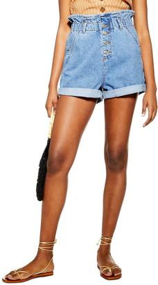 Topshop Paperbag High Waist Denim Shorts
