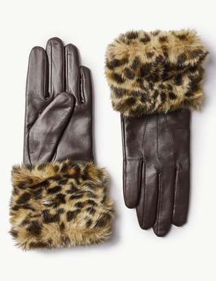 Marks and Spencer Leather Animal Print Faux Fur Gloves
