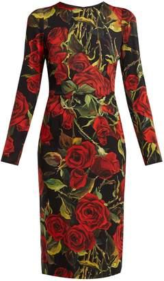 Dolce & Gabbana Rose-print silk-blend crêpe dress