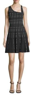 BCBGMAXAZRIA Embellished Knit City Fit-&-Flare Dress