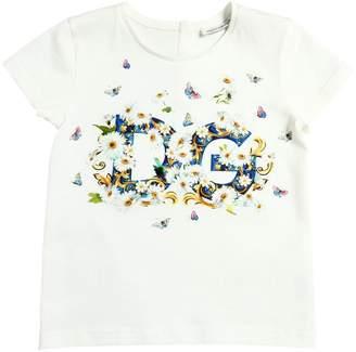 Dolce & Gabbana Floral Logo Print Cotton Jersey T-Shirt