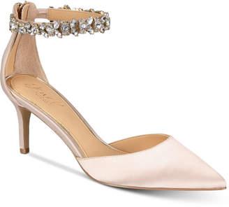 Badgley Mischka Audrey Embellished Ankle Strap Evening Pumps