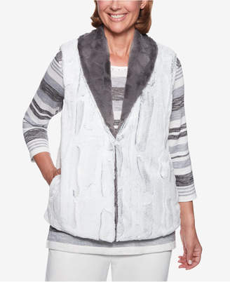 Alfred Dunner Petite Stocking Stuffers Reversible Faux-Fur Vest