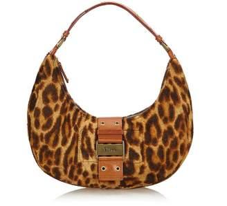 Christian Dior Vintage Leopard Print Fur Handbag
