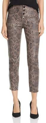 J Brand Lillie Coated-Snakeskin-Printed Crop Skinny Jeans in Brown Boa