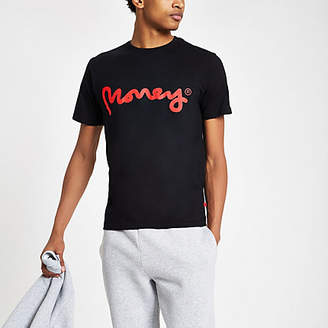 River Island Money Clothing black logo print T-shirt
