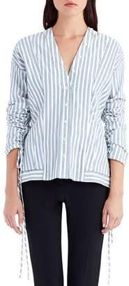 Jason Wu V-Neck Button-Front Striped Poplin Shirt