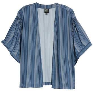 Bobeau Ruffle Sleeve Open Print Jacket (Regular & Petite)