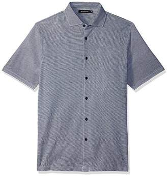 Bugatchi Men's Stright Hem Full Button Down Short Sleeve Knit Shirt
