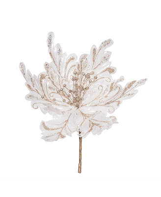 "Vickerman 17"" White Faux Pearl Glitter Poinsettia 14"" Flower Head, Set of 3"