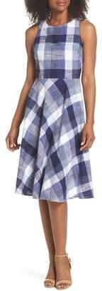 Eliza J Check Fit & Flare Dress (Regular & Petite)