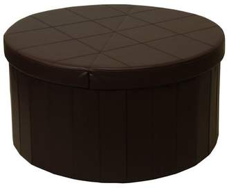 Otto & Ben 30 Inch Round Line Design SMART LIFT TOP Storage Ottoman with Faux Leather, Chocolate