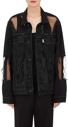 Off-White Women's Organza-Inset Distressed Denim Jacket