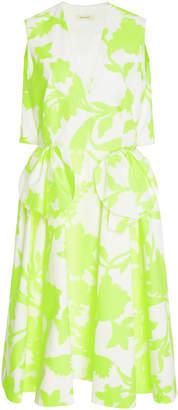 DELPOZO Bow-Detailed Floral-Print Cotton-Blend Mdi Dress