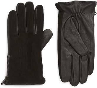 John Varvatos Side Zip Leather Gloves