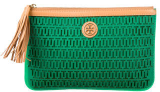 Tory Burch Tory Burch Logo Rubberized Leather Clutch