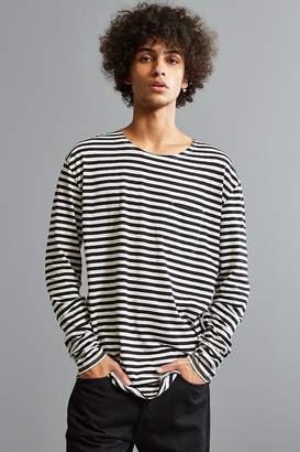 Urban Outfitters Stripe Curved Hem Long Sleeve Tee