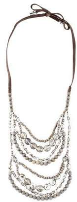 Brunello Cucinelli Wood & Crystal Layered Necklace