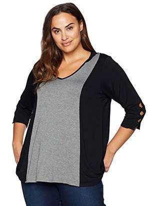 Karen Kane Women's Plus Size Contrast Hooded Top