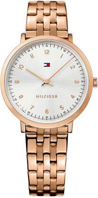 Tommy Hilfiger Women's Casual Sport Rose Gold-Tone Stainless Steel Bracelet Watch 35mm 1781760