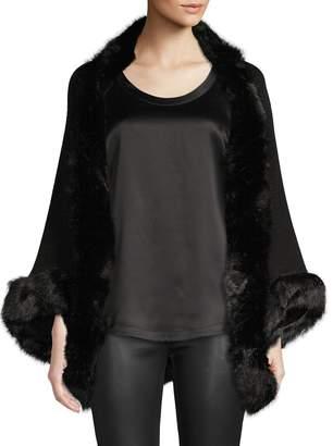 BCBGeneration Faux Fur-Trim Open-Front Poncho