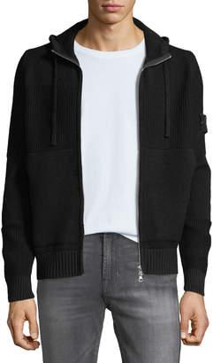 Stone Island Men's Knit Zip-Front Wool Hoodie Sweatshirt