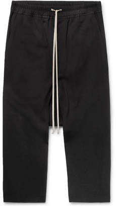 Rick Owens Wool-Crepe Drawstring Trousers - Men - Black