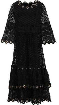 f21522f653fb Maje Roso Tiered Eyelet-embellished Guipure Lace Dress