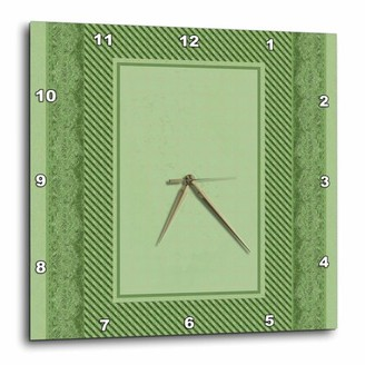 3dRose Sage green striped and damask ribbon frame, Wall Clock, 10 by 10-inch