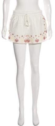 Rachel Zoe Embroidered Mid-Rise Shorts