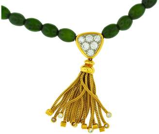 Fred Paris 18K Yellow Gold Jade Beads And Diamond Necklace