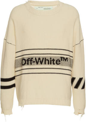 Off-White Oversized Logo Cotton Crewneck Sweater