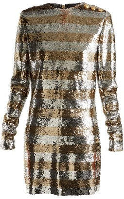 Balmain Boat Neck Mini Dress - Womens - Silver Gold