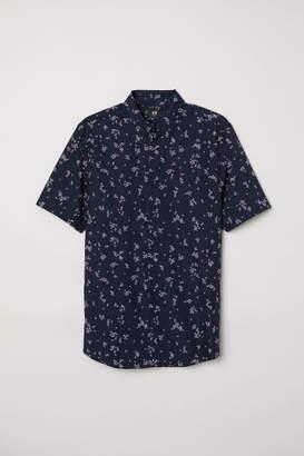 H&M Easy-iron Shirt Slim fit - Blue