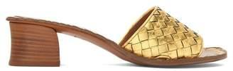 Bottega Veneta Intrecciato Leather Mules - Womens - Gold